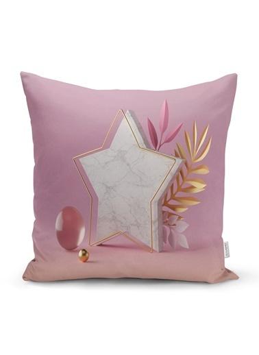 Real Homes Modern Pembe Zeminli 3D Yıldız Desenli Dekoratif Yastık Kırlent Kılıfı Renkli